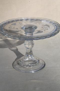 antique pressed pattern glass wedding cake stand pedestal plate, vintage EAPG Dakota