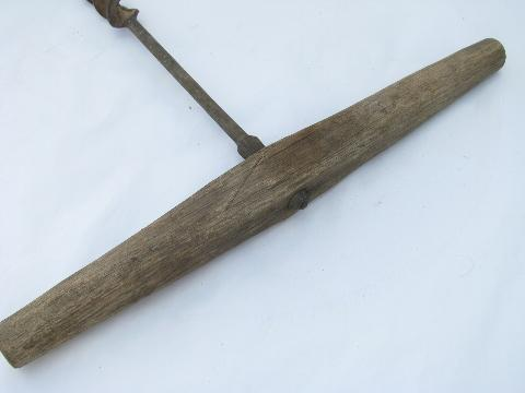 antique primitive beam auger drill, farm barn building tool