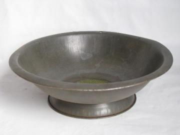 antique primitive tinned steel strainer bowl, old brass sieve, 1920s vintage sifter