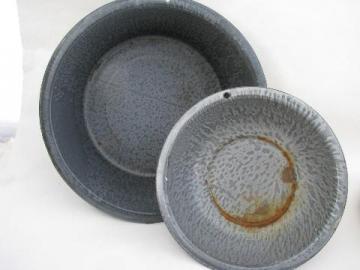 antique primitive vintage grey mottle graniteware enamel bowl & laundry pan