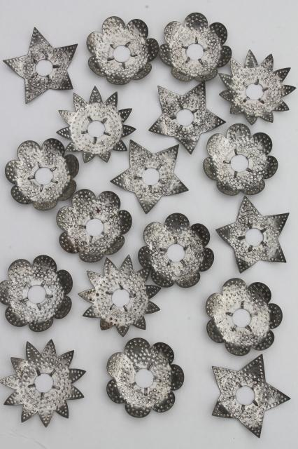 10 Vintage Punched Tin Christmas Tree Light Reflectors Flowers Patio Decor Primitive  Rustic Decoration 3 Inches
