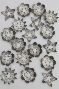 antique punched tin Christmas tree candle reflectors, rustic primitive stars & flowers