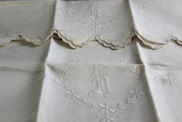 antique pure linen pillowcases w/ whitework embroidery, huge lovely monogram G