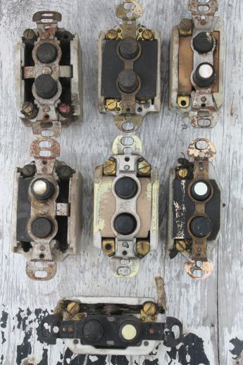 Antique Push On Light Switches Lot Of 7 Architectural