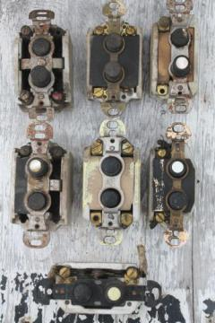 antique push button light switches, lot of 7 architectural light switches w/mother of pearl