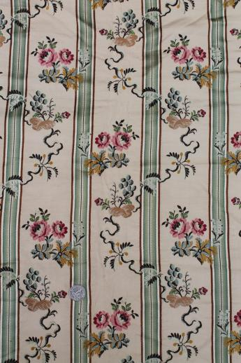 Silk Brocade Fabric Satin Striped Floral Fabric Early 1900s Vintage