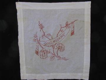 antique redwork embroidery, vintage cotton pillow cover embroidered Good Morning