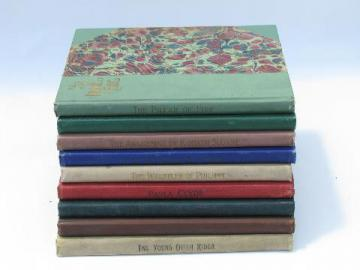 antique religous texts and stories, beautiful marbled covers - 9 volumes, circa 1900