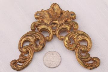 antique repousse brass crown molding corner, ornate gold metal ormulu decoration