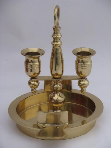 antique reproduction game table candle lamp, solid brass bouillotte candlestick
