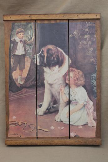 Antique Chandeliers For Sale >> antique reproduction print girl & St. Bernard dog, plank back picture on wood boards