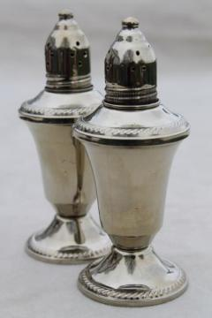 antique reproduction shakers, vintage S&P set Mayflower silver look non-tarnish holloware
