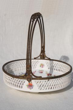 antique reticulated china brides basket bowl, Dresden porcelain style Royal Vienna Austria