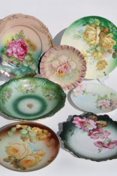 antique roses china, large bowl & plates, shabby cottage chic painted floral dishes