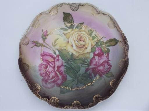 antique roses china plates, early 1900s vintage hand-painted porcelain