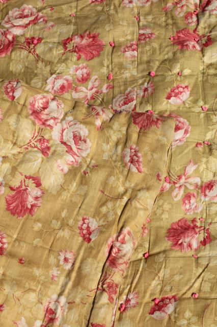 antique roses print cotton fabric comforter w/ soft warm wool batting fill, vintage tied quilt