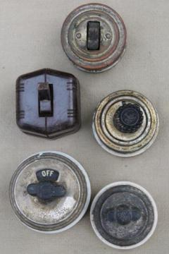 antique rotary switches, lot of 5 surface mount light switches, architectural hardware