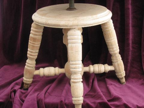 Antique Round Seat Piano Stool Stripped Wood W Original
