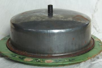 antique round wood board cheese plate w/ metal dome cover, 1920s vintage original paint