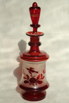 antique ruby stain hand blown glass decanter bottle, early 1900s vintage Bohemian glass