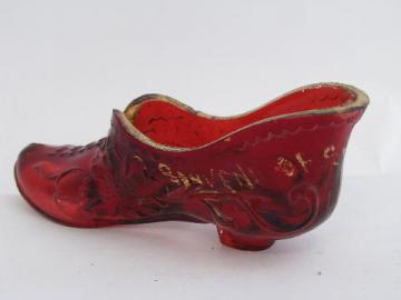 antique ruby stain pressed glass shoe, early 1900s souvenir
