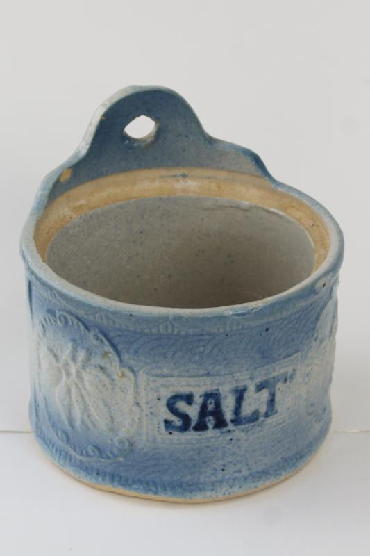 antique salt glaze stoneware pottery crock jar, salt pig wall mount box w/ wood lid