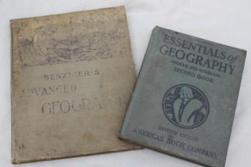 antique schoolbooks, geography books w/ color maps vintage 1912 & 1934