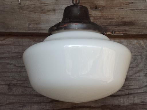 antique schoolhouse pendants, vintage lighting lot w/white glass shades