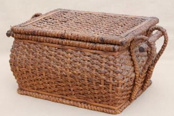 antique sewing box, shabby rustic woven straw sewing box early 1900s vintage