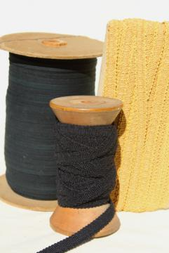 antique sewing millinery trim, big spools of black & gold braid, cotton twill tape