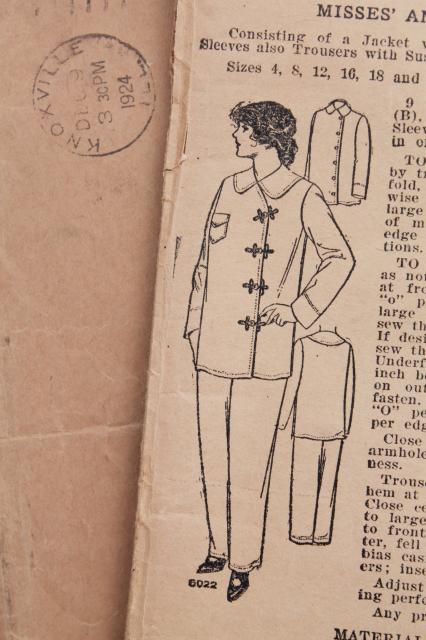 Antique Sewing Pattern 1920s Vintage Ladies Size 16 Pajamas