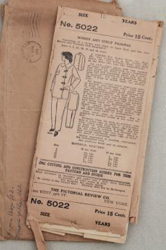 antique sewing pattern, 1920s vintage ladies size 16 pajamas, trousers & jacket w/ frog closures