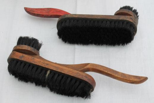Antique Shoe Shine Brushes In Old Wood Box Footstool