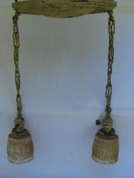 antique shower cascade ceiling fixture, brass pendant hanging lights w/ vintage shades