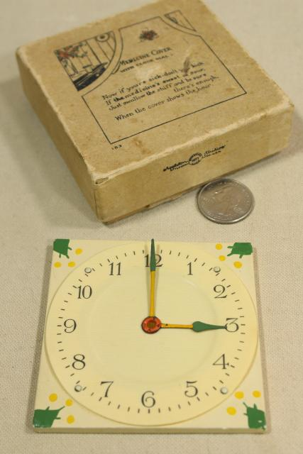 antique sick room invalid gadget, early century vintage celluloid medicine glass cover clock