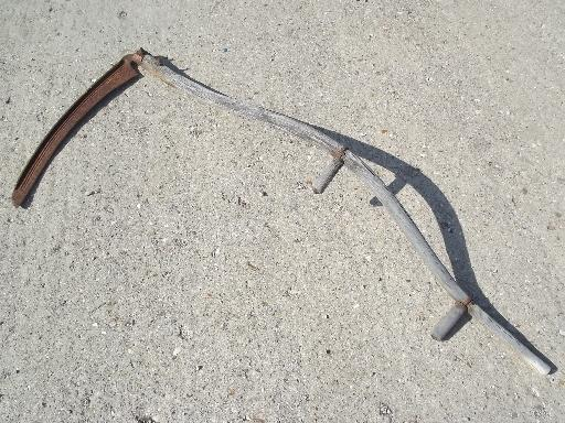 antique sickle blade knife reaper scythe, vintage farm