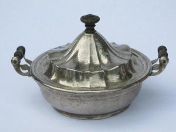 antique silver chafing dish, vintage silverplate covered serving bowl