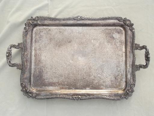 antique silver over copper tray, huge vintage estate ...