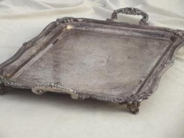 antique silver over copper tray, huge vintage estate silver plate serving tray