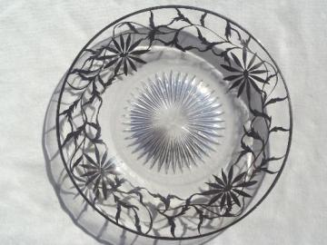 antique silver overlay glass plate, tarnished silver deposit decorated serving plate
