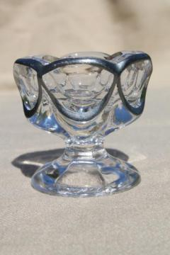 antique silver overlay glass salt dip dish or egg cup, early 1900s vintage