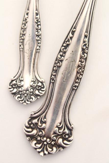 antique silver plate berry scoop spoons, Old English C engraved letter monogram