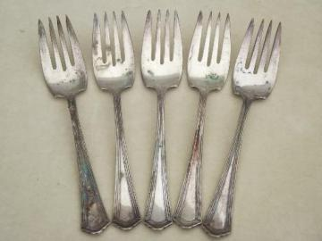 antique silver plate fish salad forks, vintage silverplate flatware