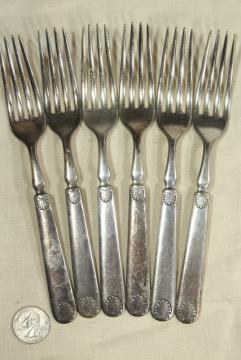 antique silver plate flatware, heavy hotel silverware classical shell 1847 Rogers