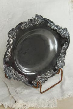 antique silver plate poppies pattern bread tray, 1920s vintage bowl or candy dish