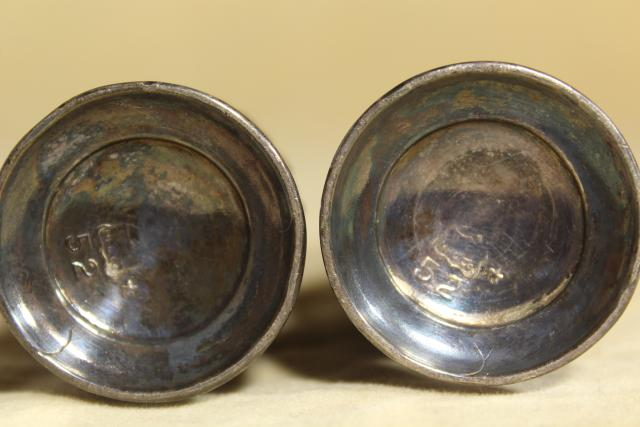 antique silver plate salt and pepper shakers w/ acanthus leaf, early 20th century vintage
