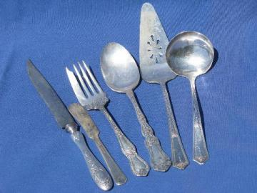 antique silver plate serving pieces, ornate pastry fork, knife etc.