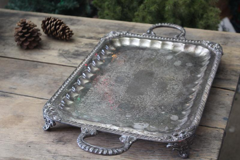 antique silver salver, heavy ornate butler's / waiter's tray early 1900s vintage