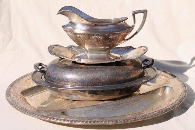 antique silver serving pieces, tarnished old silverplate roast platter, gravy boat dated 1914