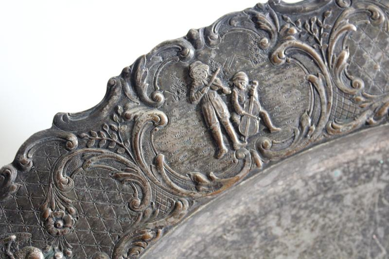 antique silverplate tray or platter, dove birds, musicians & dancers figural border